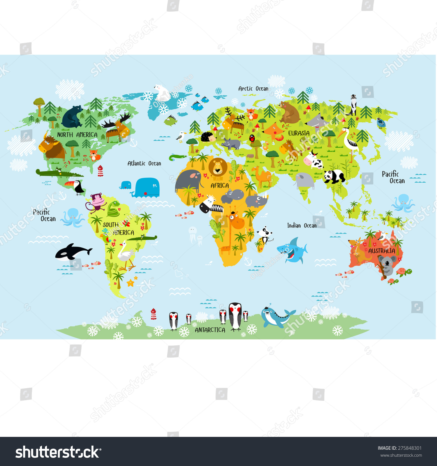 Vector Map Of The World With Animals