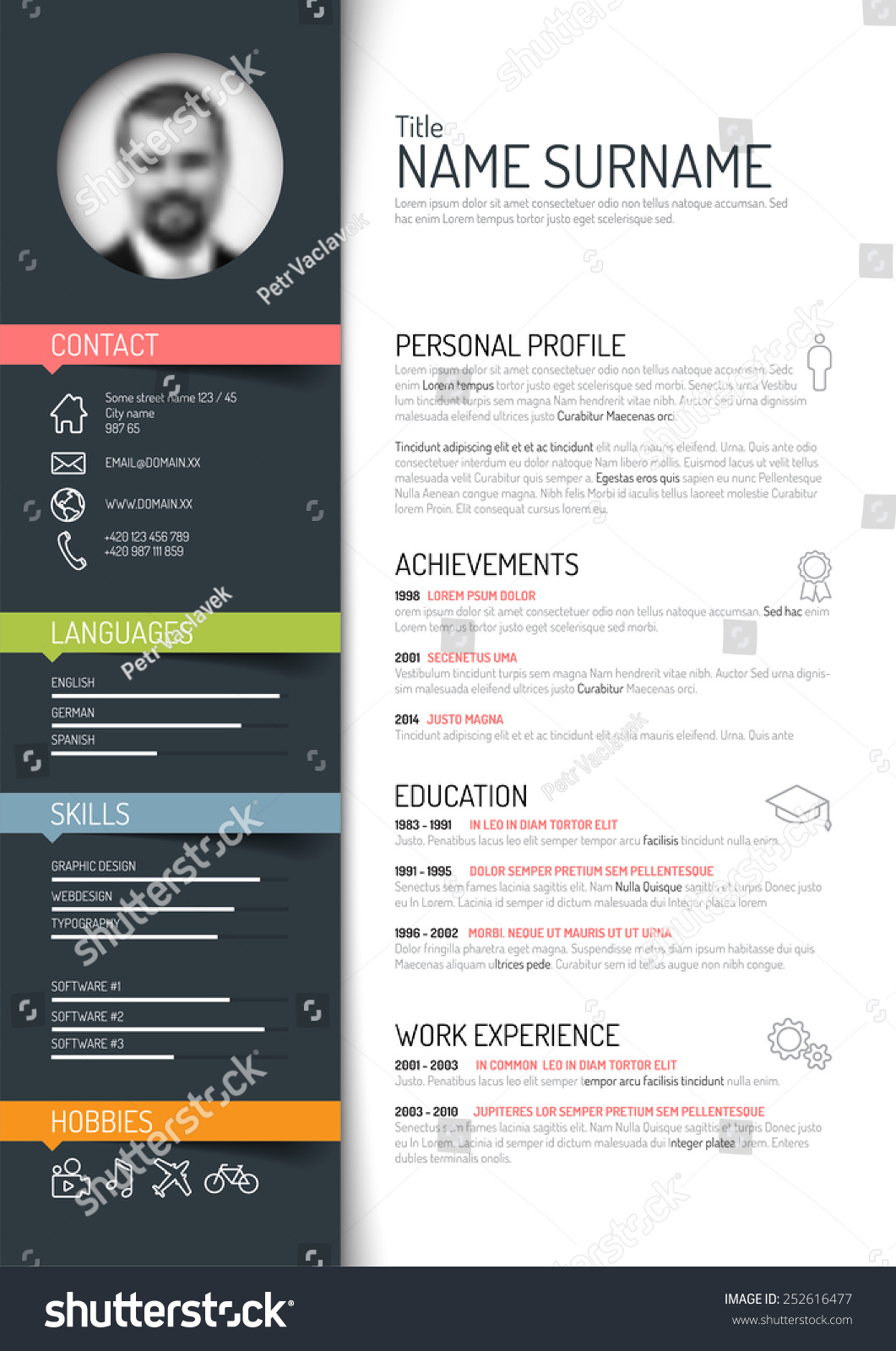 Vector Minimalist Cv Resume Template Dark Stock Vector