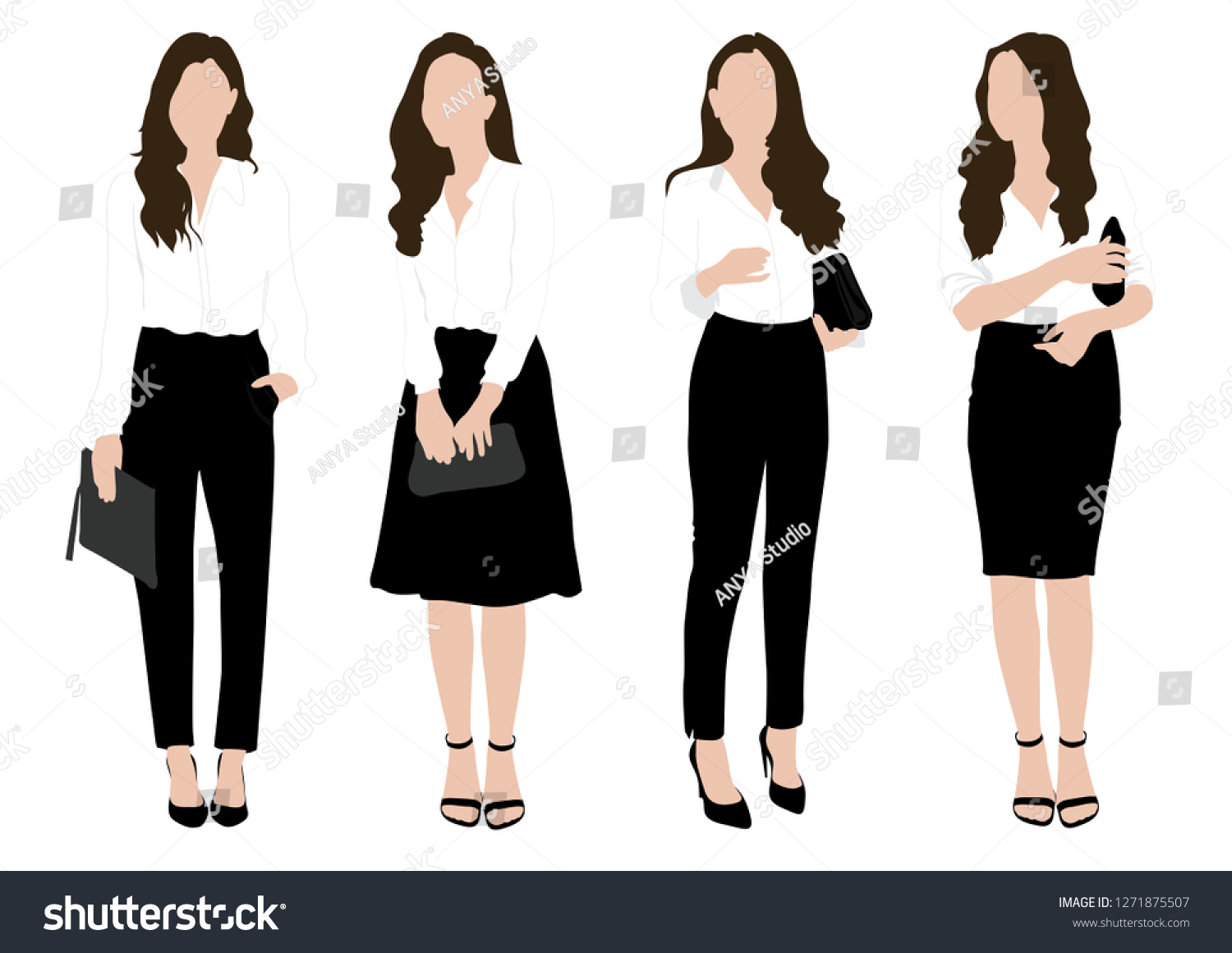 Vector Business Woman Wearing Working Outfit Stock Vector Royalty Free 1271875507