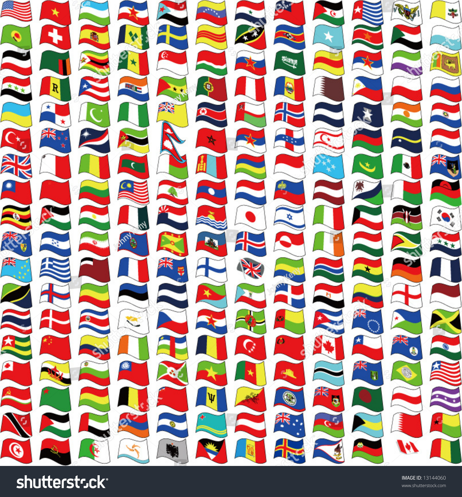 vector waved national flags