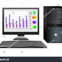 Desktop Computer Diagram Saab 9 5 Engine Vector Office Business Stock