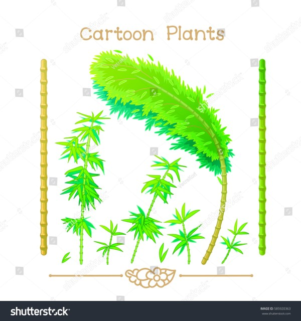 Vector Pic Series Cartoon Plants Green Stock