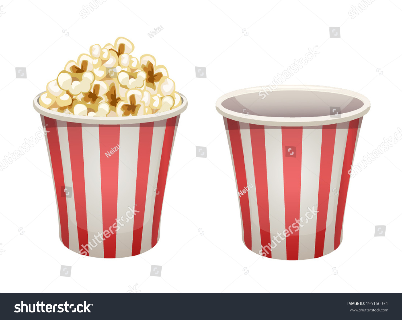 Vector Popcorn Bucket Isolated Full Empty Stock Vector