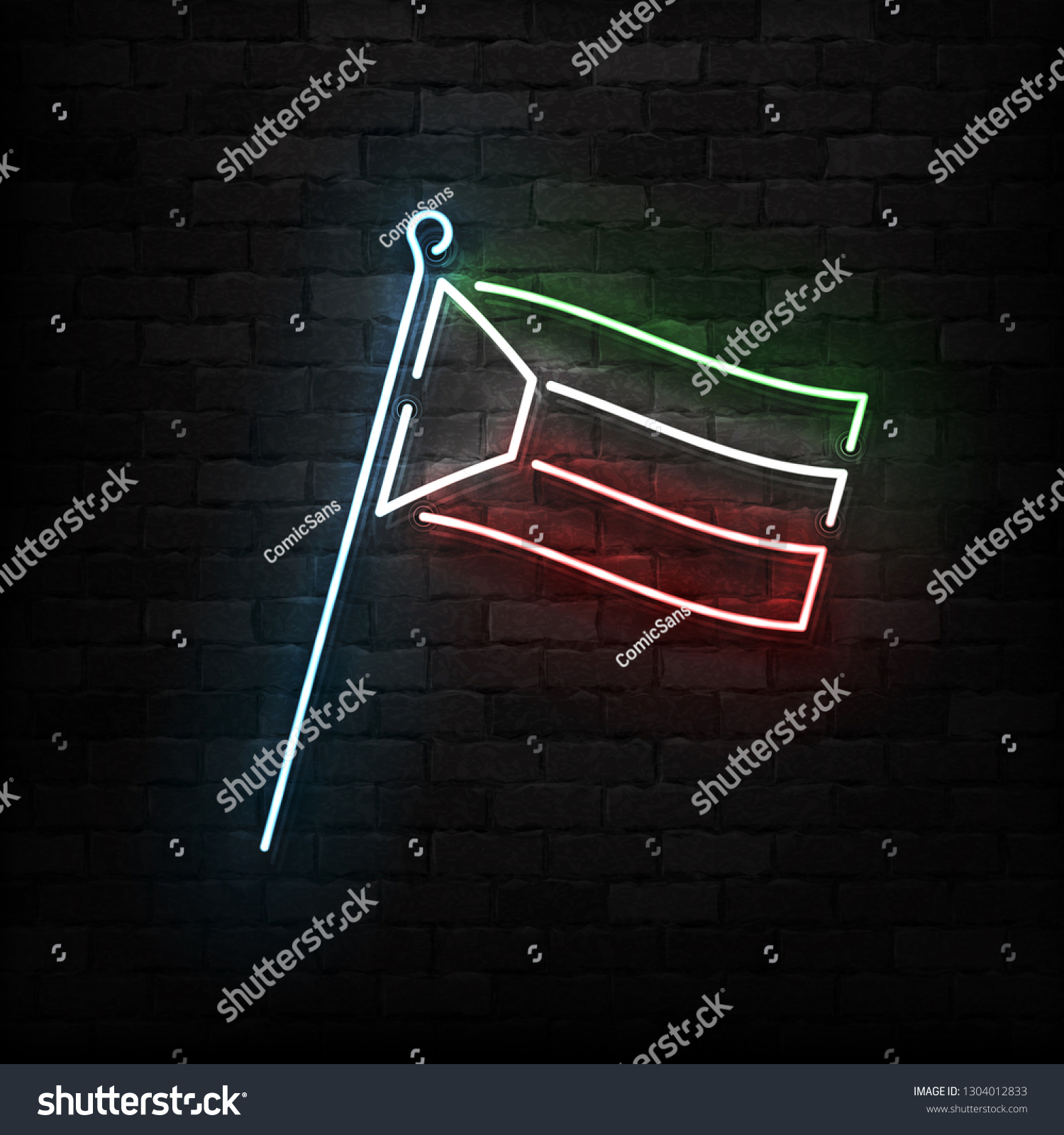 hight resolution of vector realistic isolated neon sign of kuwait flag logo for template decoration and covering on the