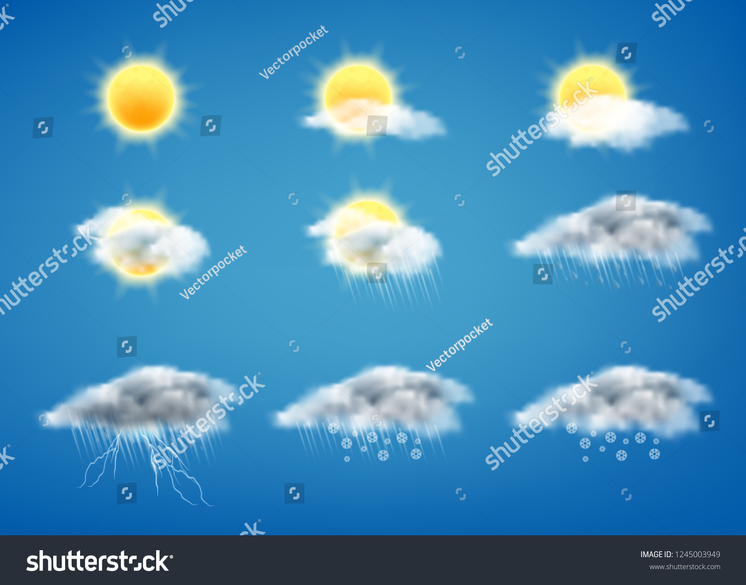 hight resolution of vector realistic set of weather forecast icons for web interfaces or mobile apps isolated on