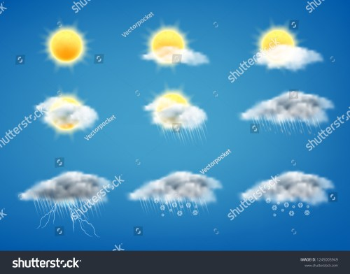 small resolution of vector realistic set of weather forecast icons for web interfaces or mobile apps isolated on