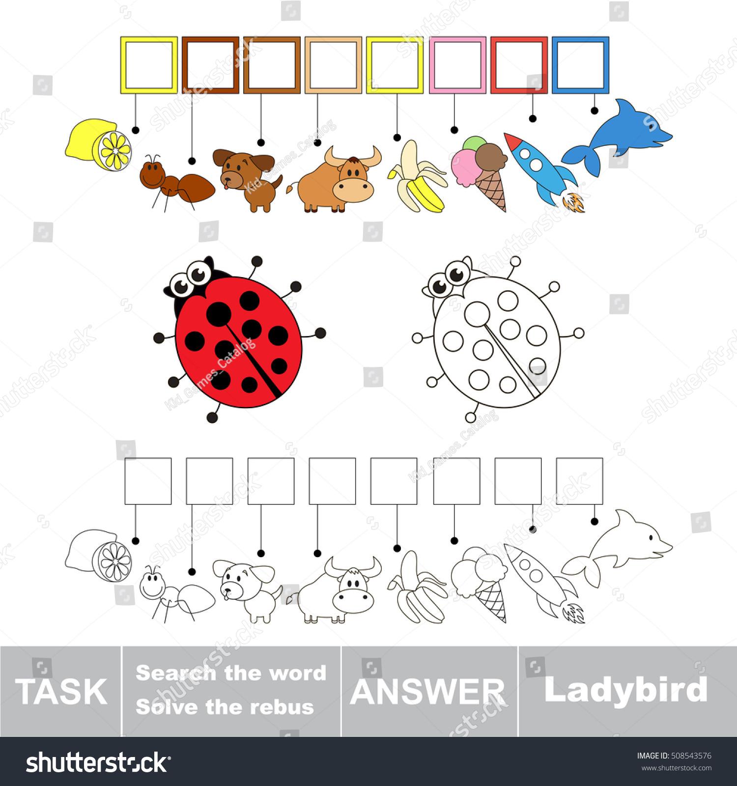Vector Rebus Game Preschool Kids Easy Stock Vector
