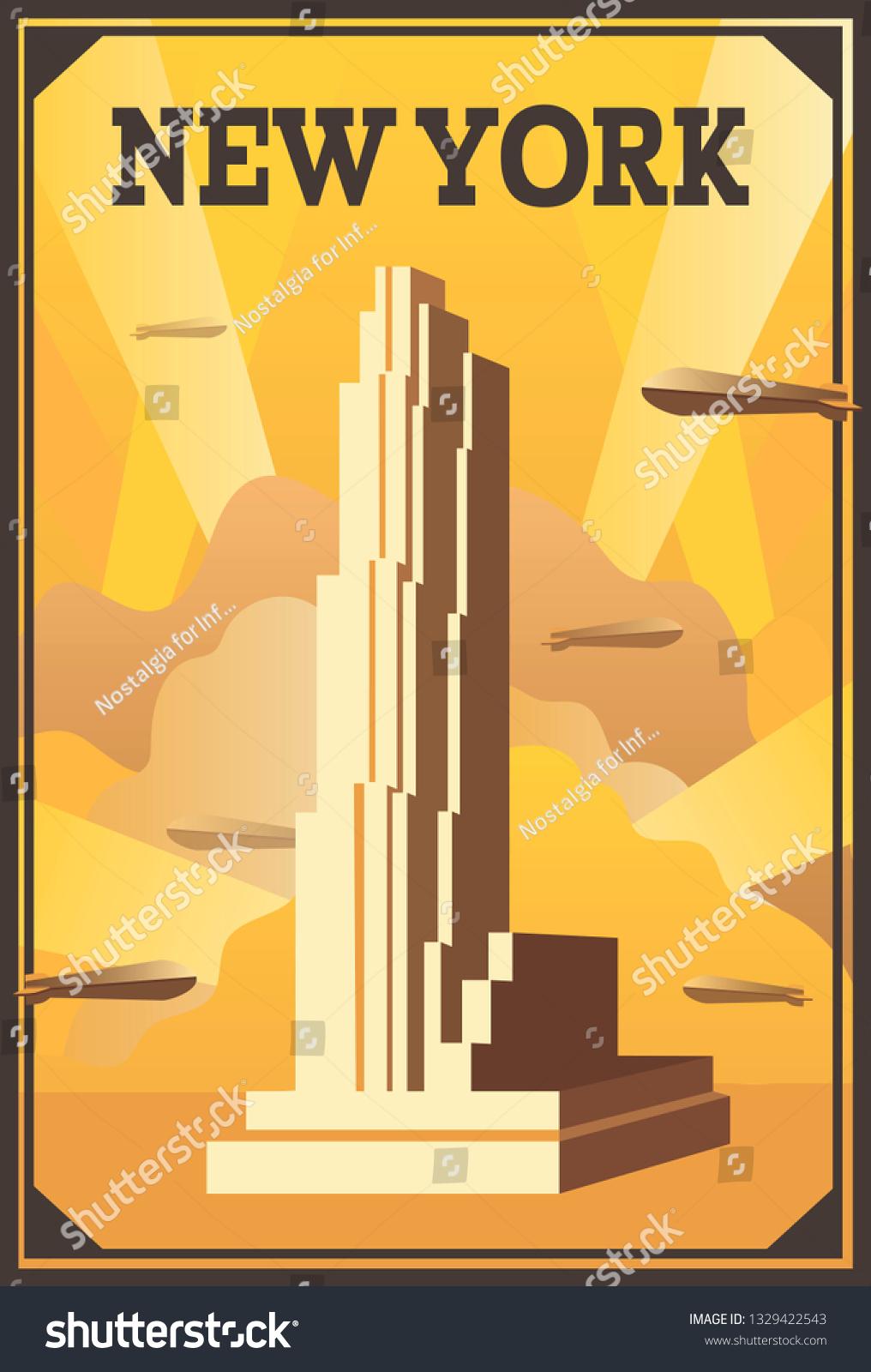 https www shutterstock com image vector vector retro poster art deco style 1329422543