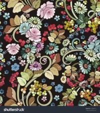 Vector Seamless Ornament Wallpaper Retro Floral Stock ...