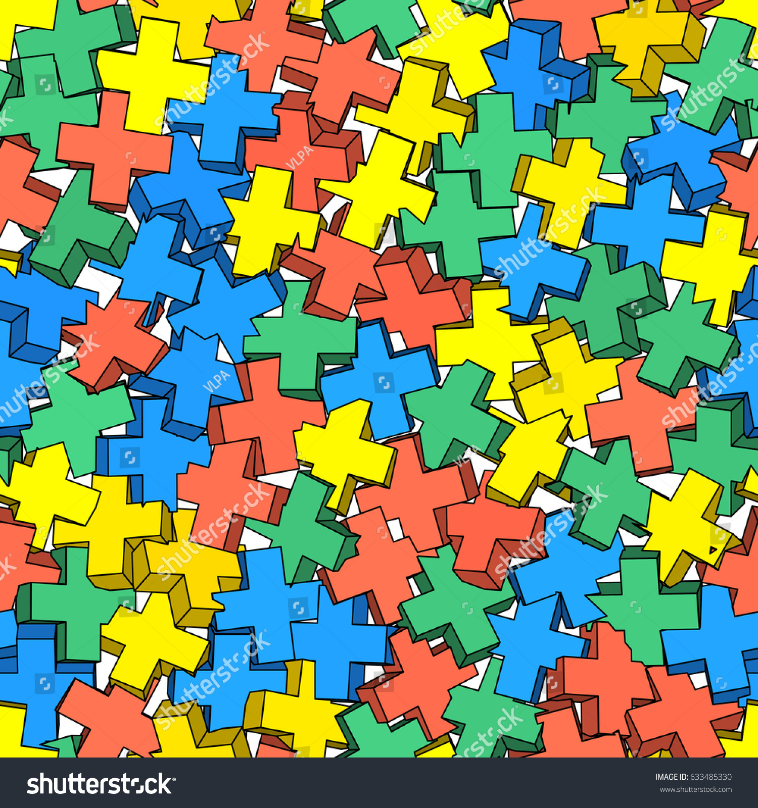 Vector Seamless Pattern 3d Crosses Plus Stock Vector