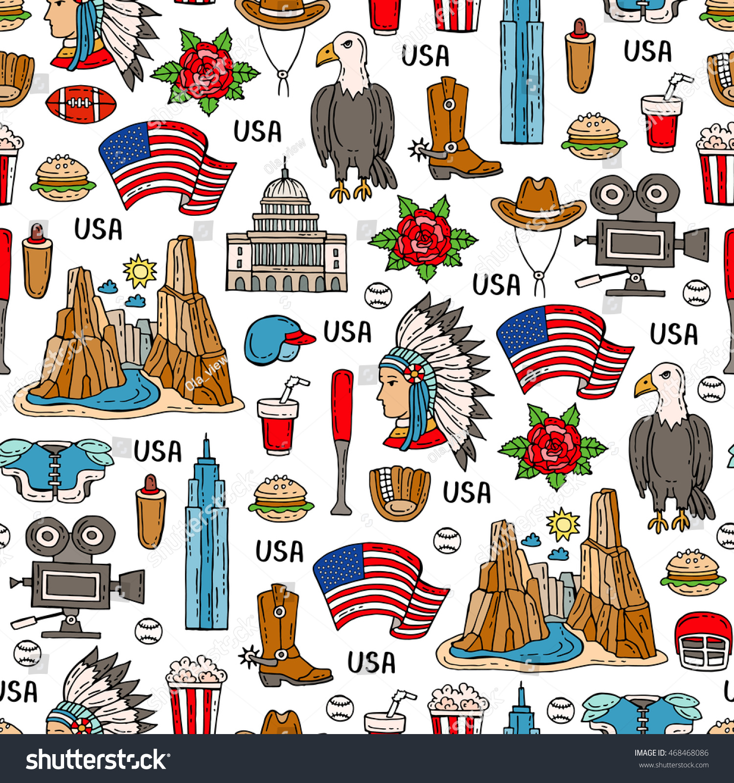 Vector Seamless Pattern On Theme Usa Stock Vector