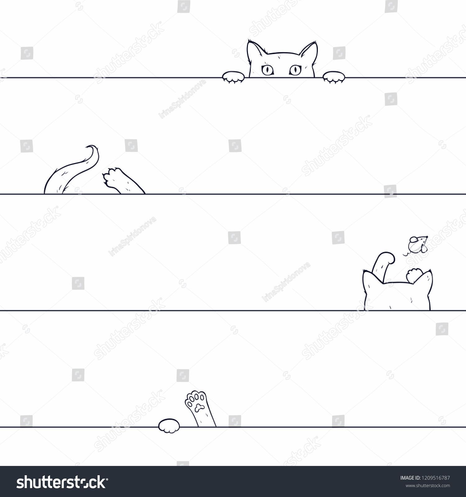 hight resolution of vector seamless pattern with playing cat drawn by hand on a white background cat catches
