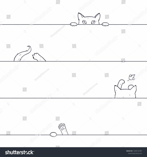 small resolution of vector seamless pattern with playing cat drawn by hand on a white background cat catches