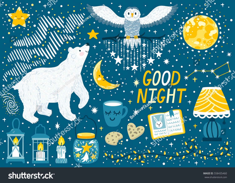 Vector Set Good Night Polar Bear Stock Vector