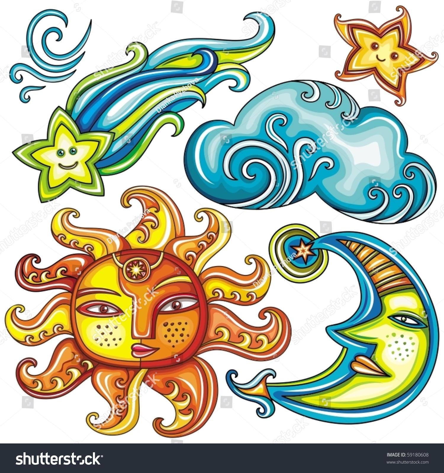 Vector Set Of Celestial Symbols Sun Moon Star Comet
