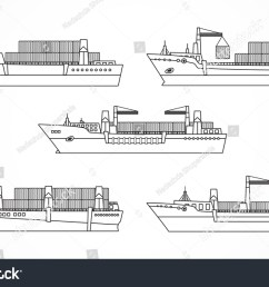 vector set of dry cargo ships container ships black contours please see other [ 1500 x 1023 Pixel ]