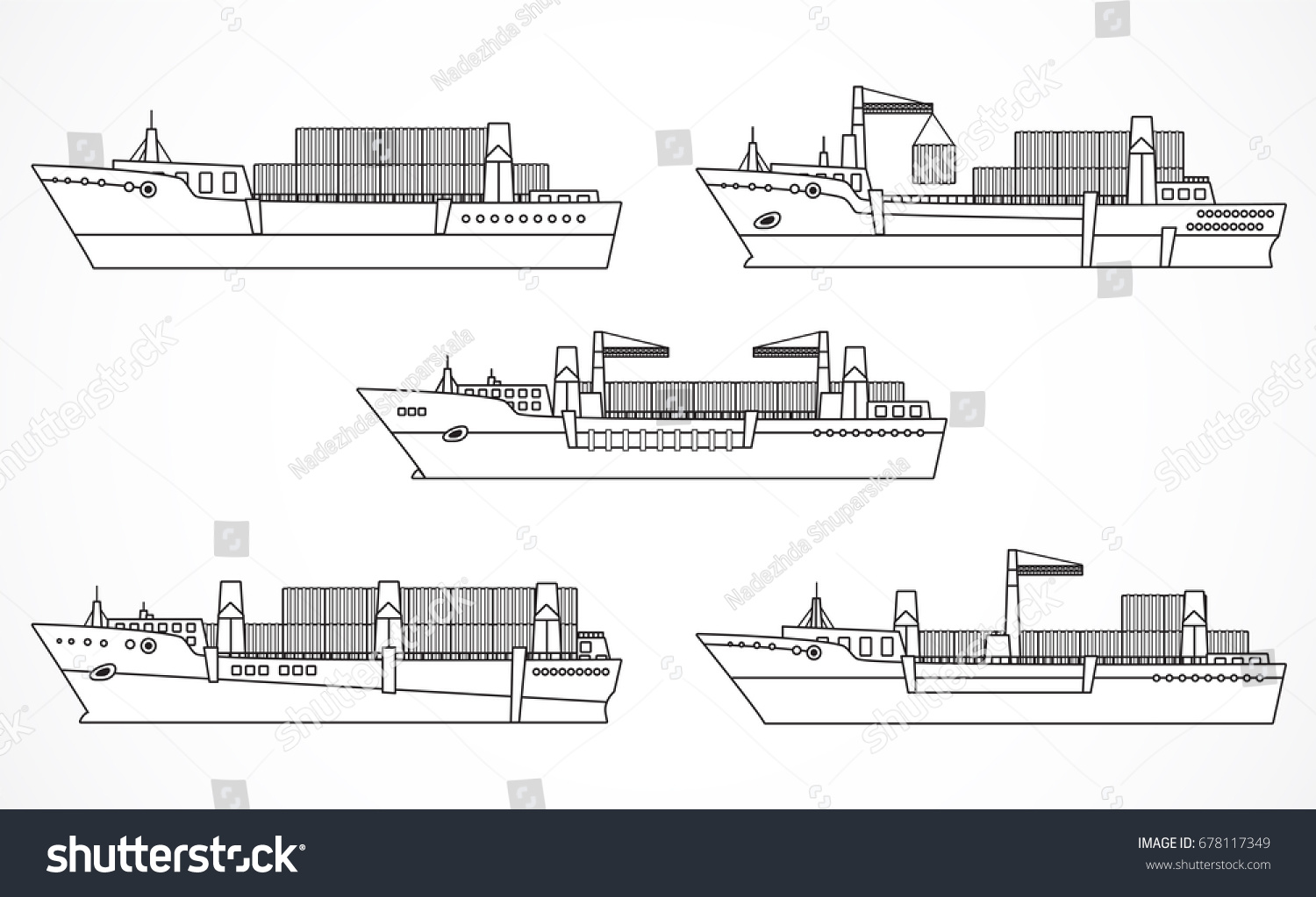hight resolution of vector set of dry cargo ships container ships black contours please see other