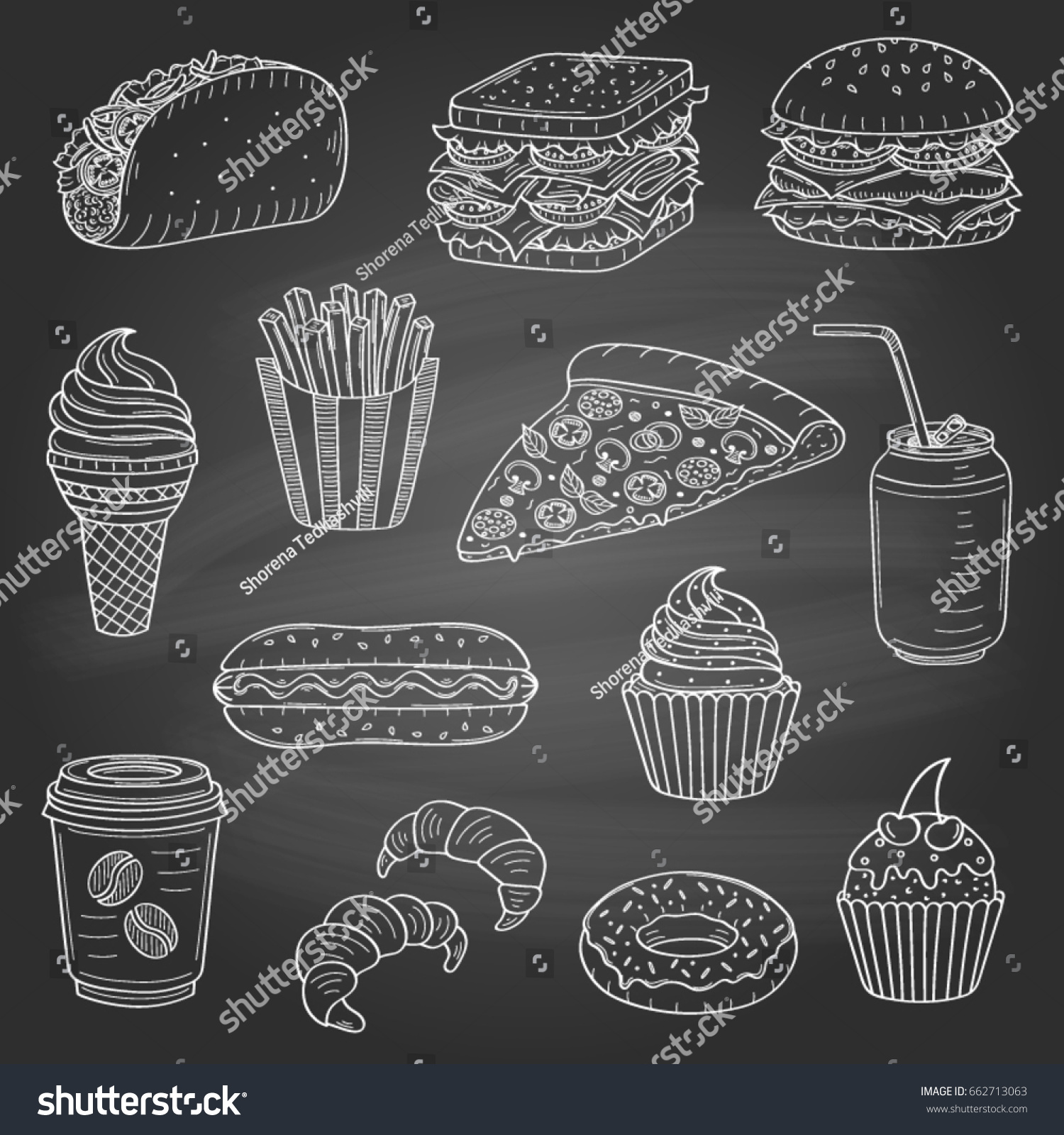 Vector Set Fast Food Hand Drawn Stock Vector 662713063