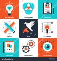 Vector Set Flat Creative Process Icons Stock Vector ...