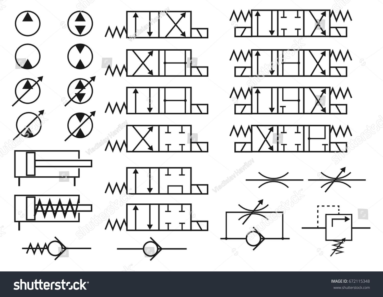 Vector Set Hydraulic Elements Symbols Constructing Stock