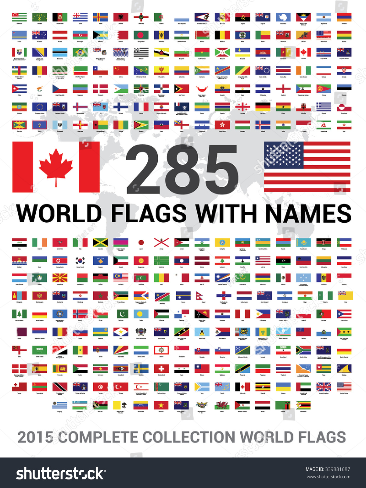 Vector Set 285 World Flags Sovereign Stock Vector