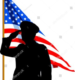 vector silhouette of a soldier saluting the american flag [ 1149 x 1600 Pixel ]