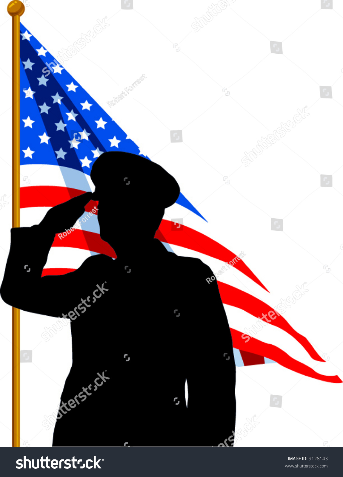 hight resolution of vector silhouette of a soldier saluting the american flag