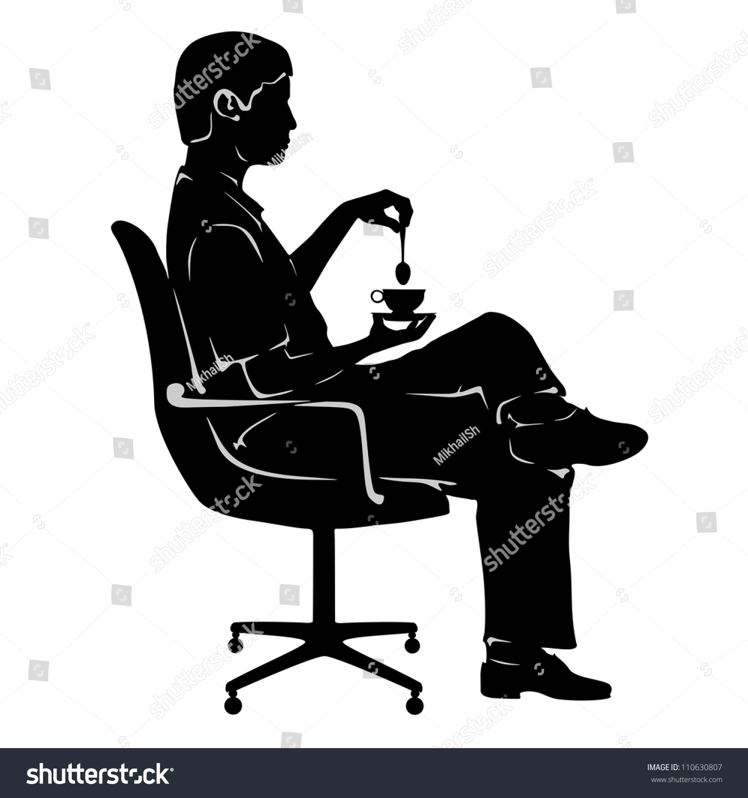 office chair vector high tables and chairs silhouette man cup stock