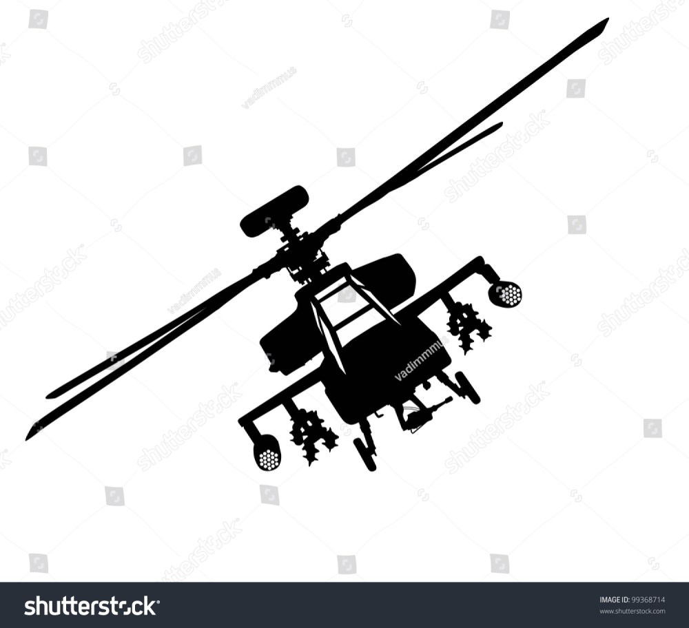 medium resolution of vector silhouette of military helicopter flying front view