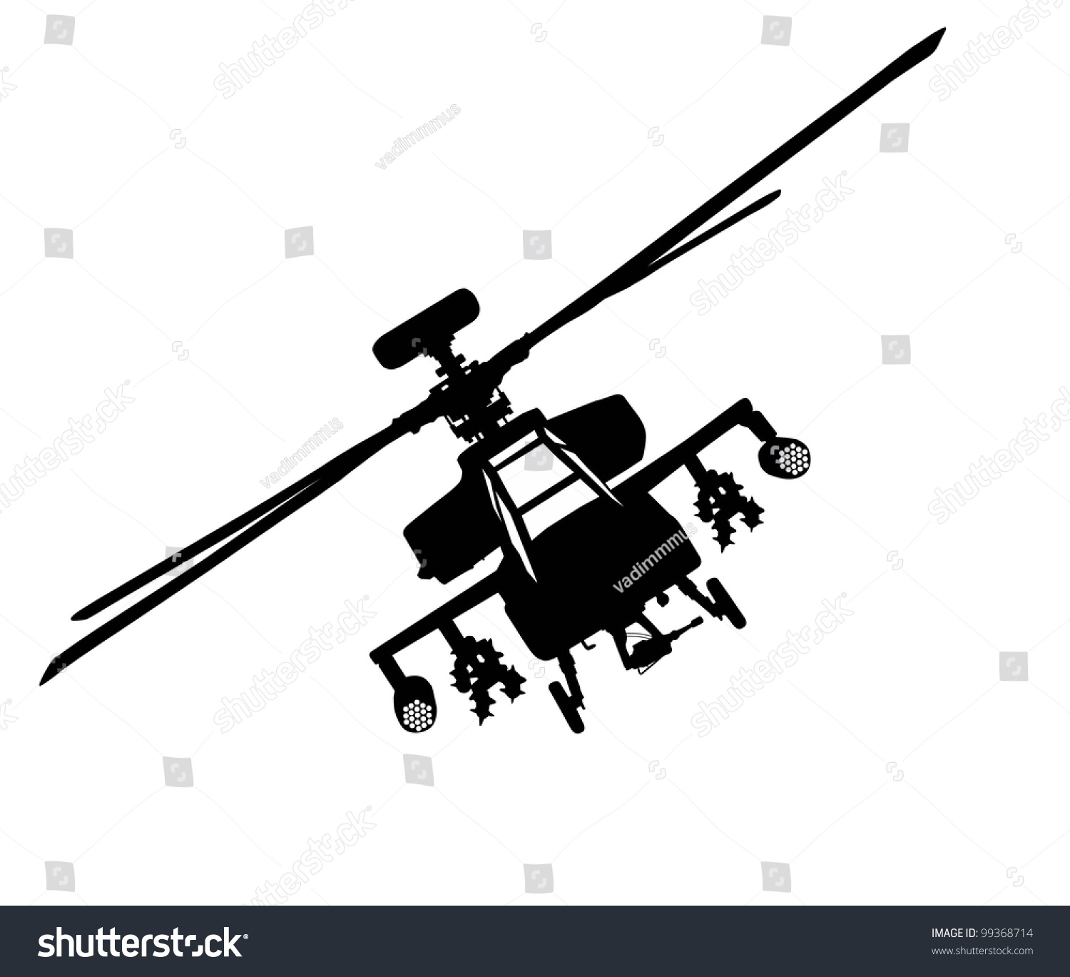 hight resolution of vector silhouette of military helicopter flying front view