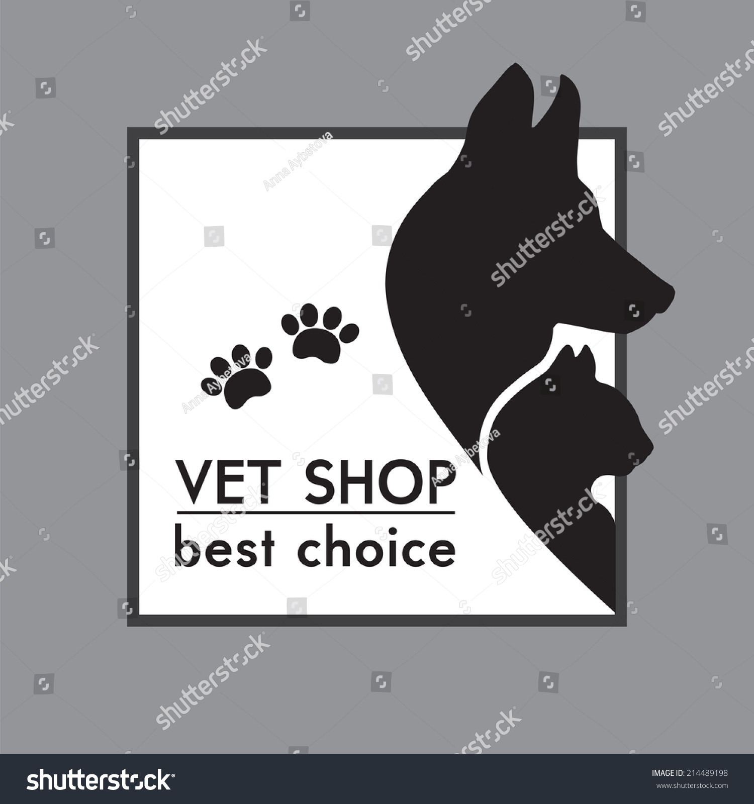hight resolution of vector silhouettes of a cat and dog on the poster for veterinary shop or clinic
