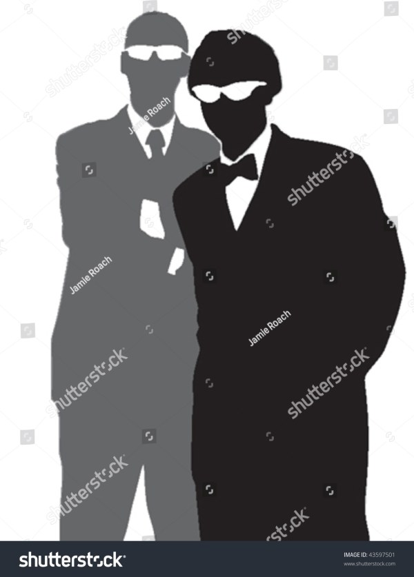 Vector Silhouettes Two Men Dressed Tuxedos Stock 43597501 - Shutterstock