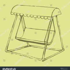 Swing Chair Drawing Gym Chairs Cost Vector Sketch Bench With A Sun Canopy