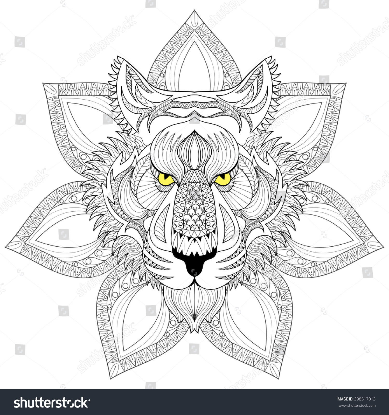 Vector Tiger S Face Isolated On Henna Mandala Zentangle