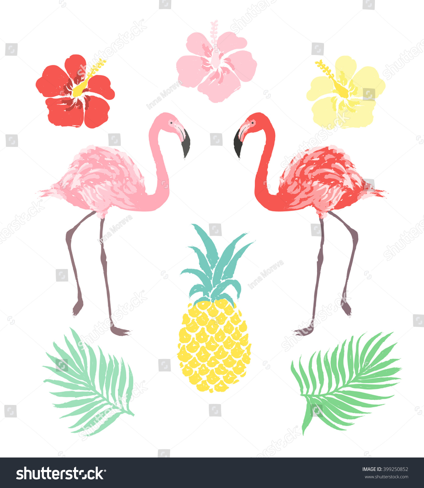 hight resolution of vector tropical clipart set flamingo pineapple hibiscus flower palm leaf isolated on white background