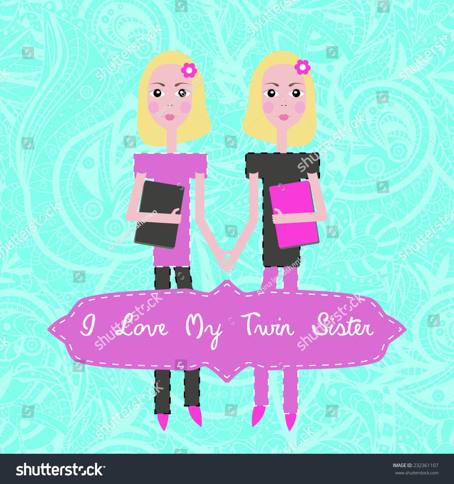 https www shutterstock com image vector vector twins love my twin sister 232361107