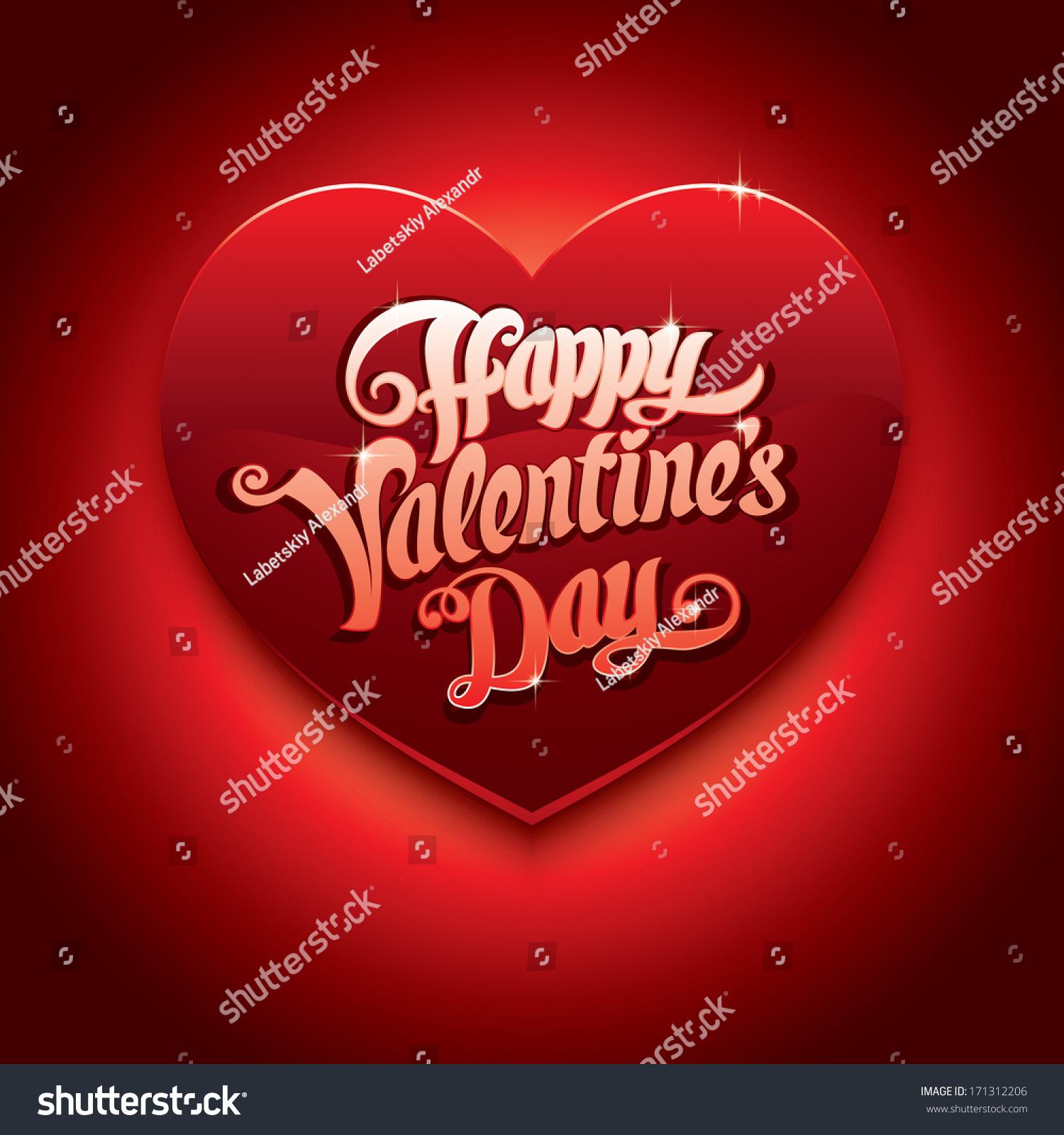 Vector Valentines Day Card Red Heart 庫存矢量圖 171312206 - Shutterstock