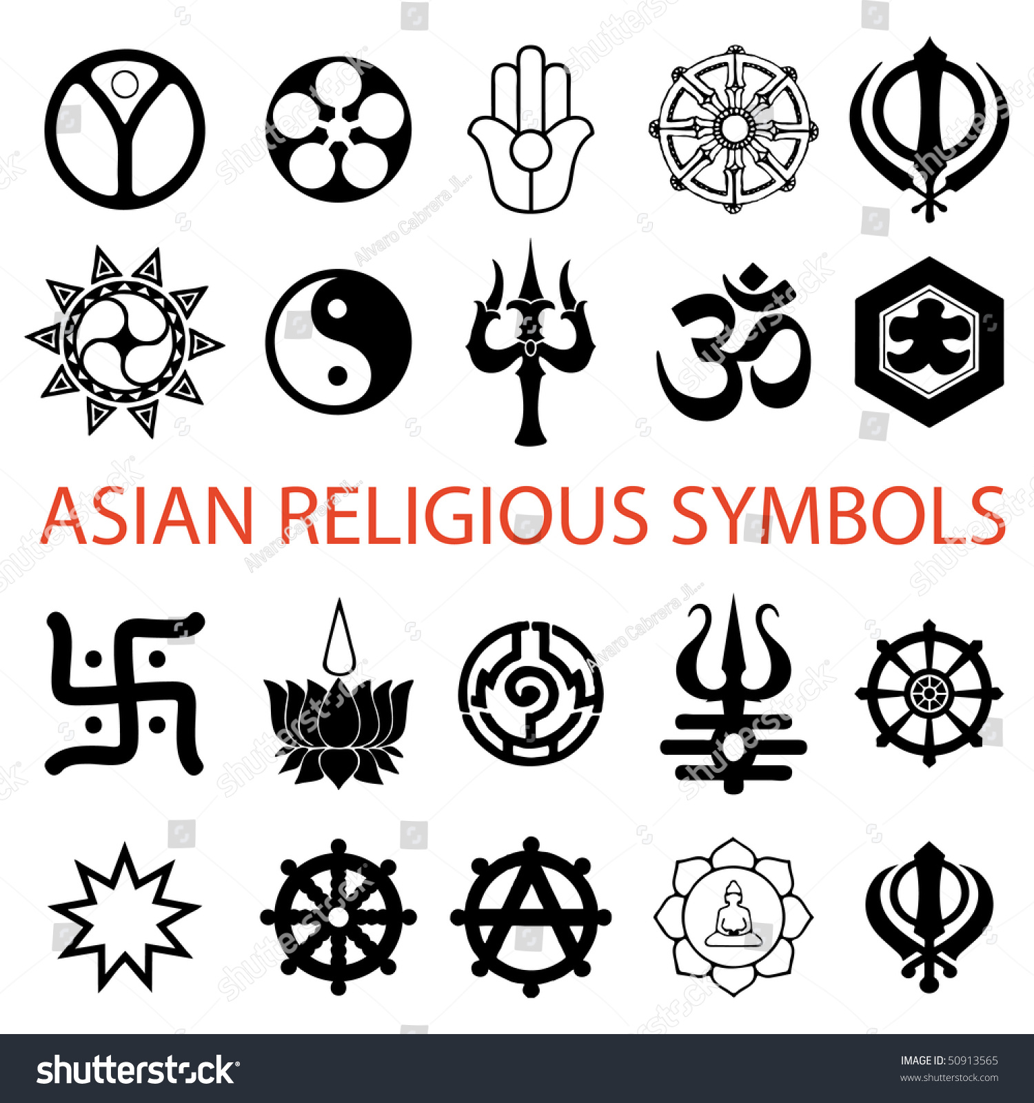 Vector Various Religious Symbols Asian Stock Vector