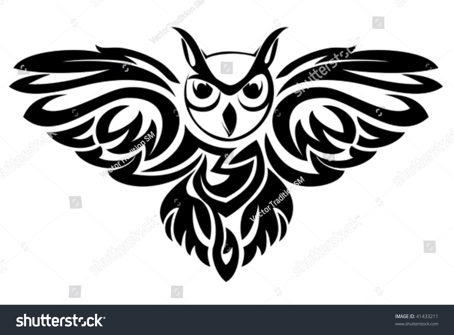 Vector Version Black Owl Symbol Isolated Stock Vector