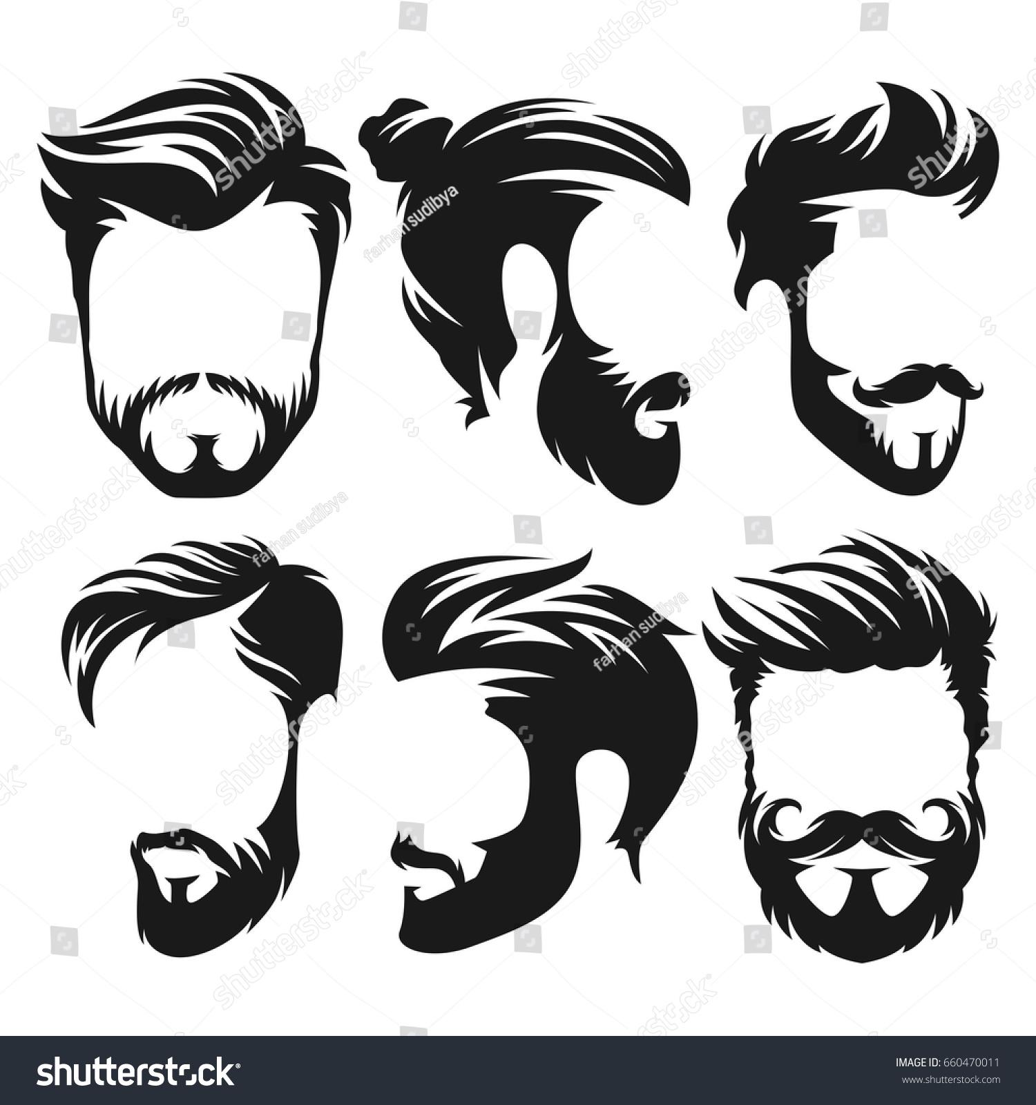 Vector Vintage Hairstyle Barber Shop Logo Stock Vector