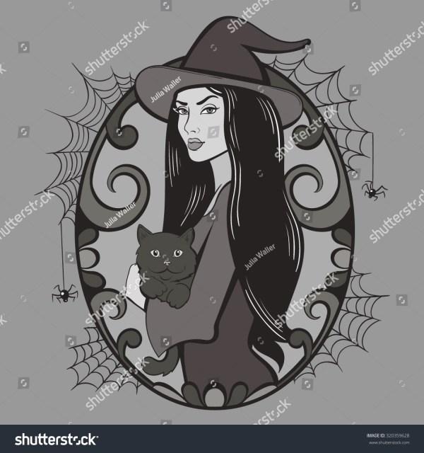 Vector Vintage Halloween Witch Illustration Stock