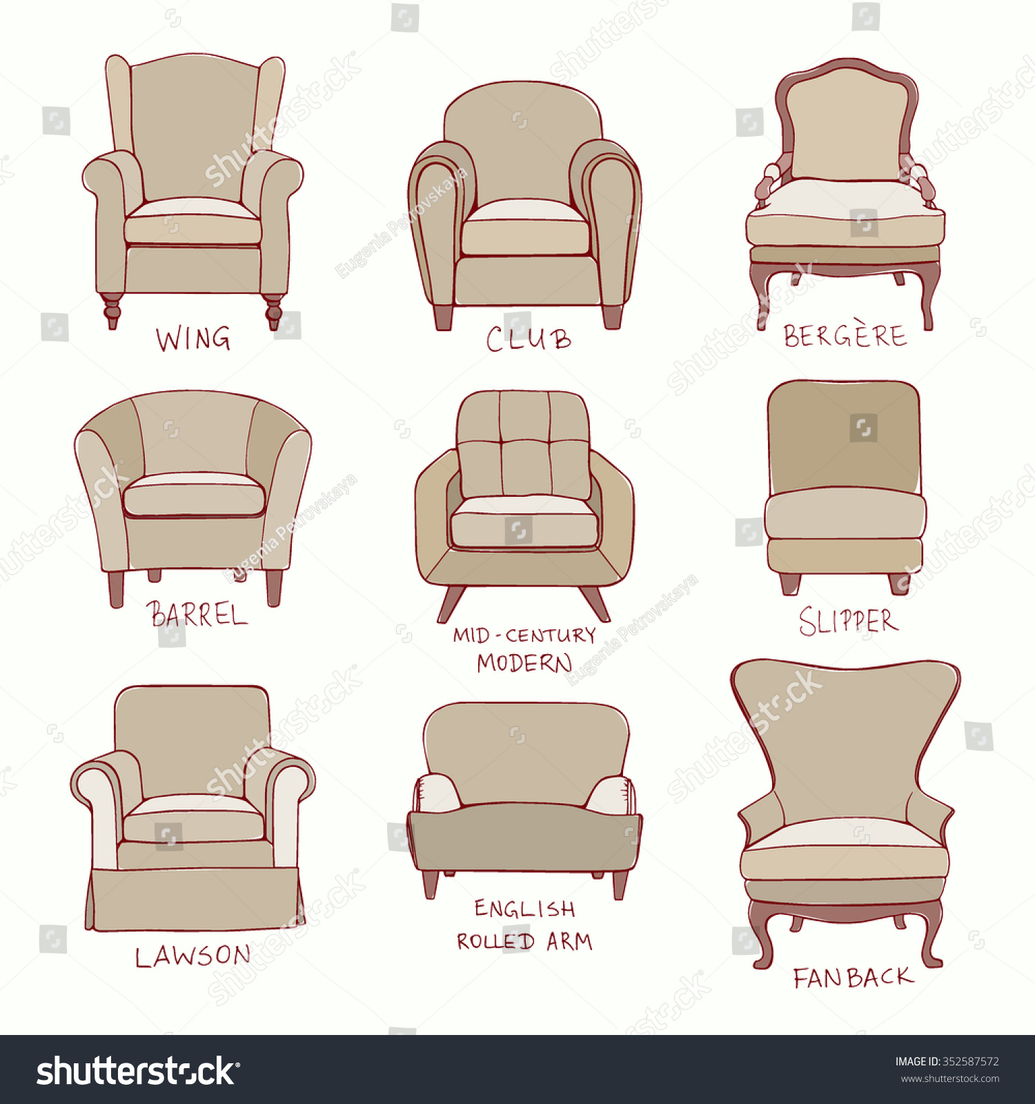 chair design styles aluminum management vector visual guide accent stock