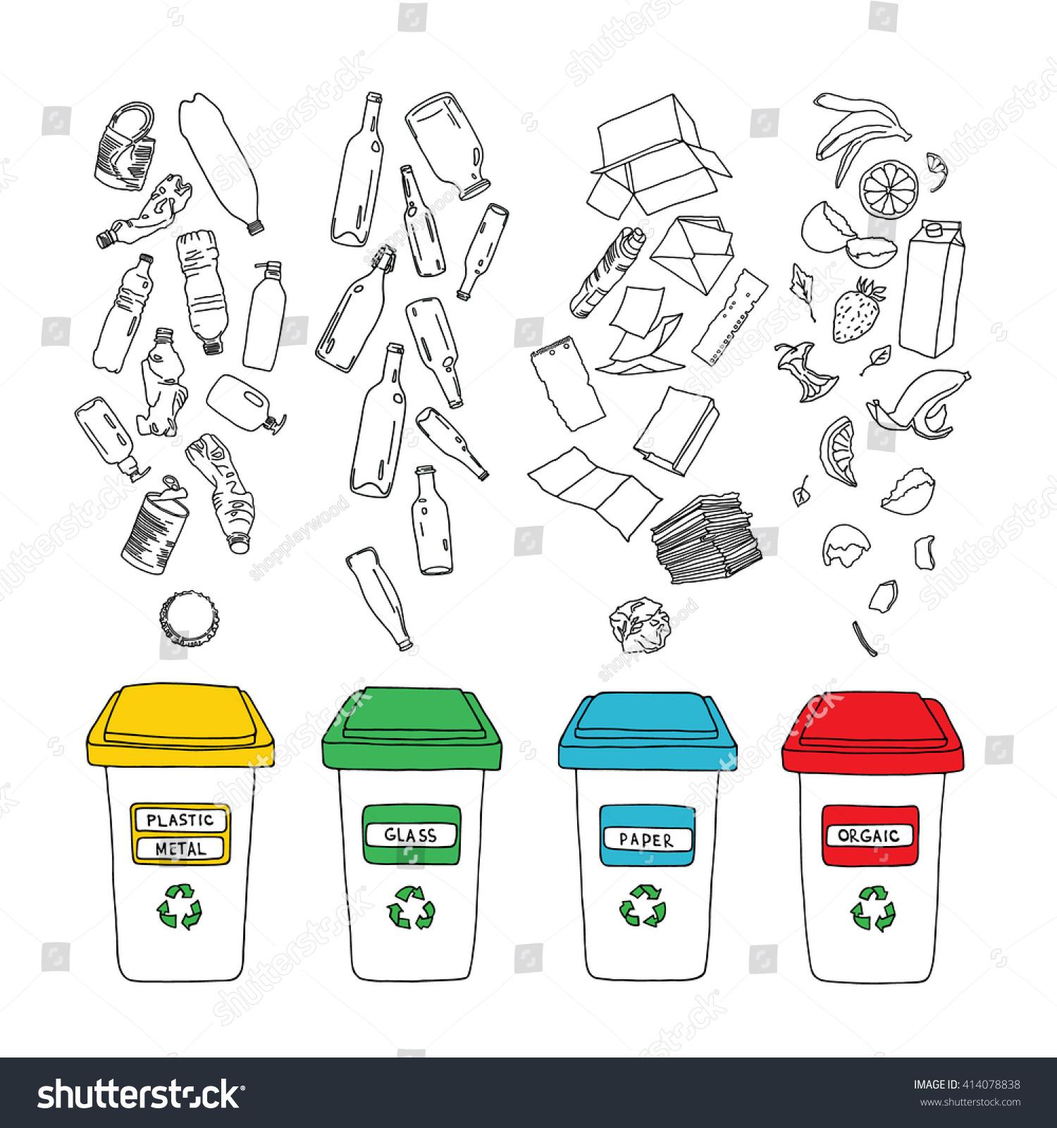 Vector Waste Sorting Set Hand Drawn Stock Vector