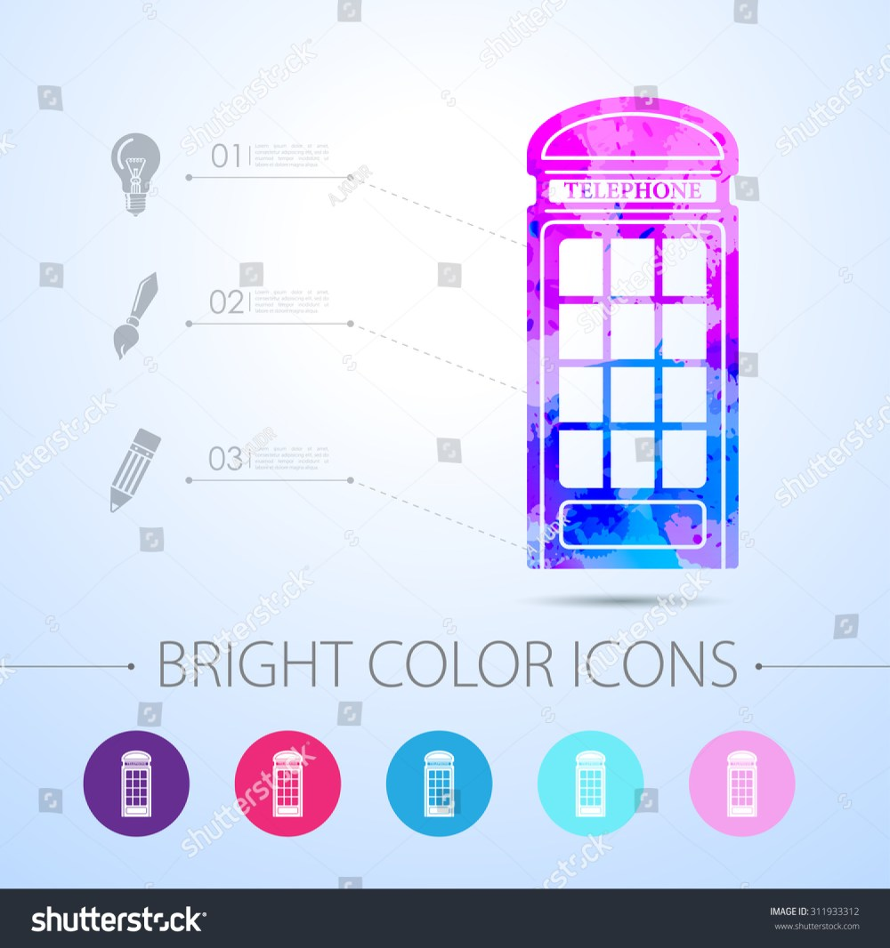 medium resolution of vector watercolor telephone box icon with infographic elements