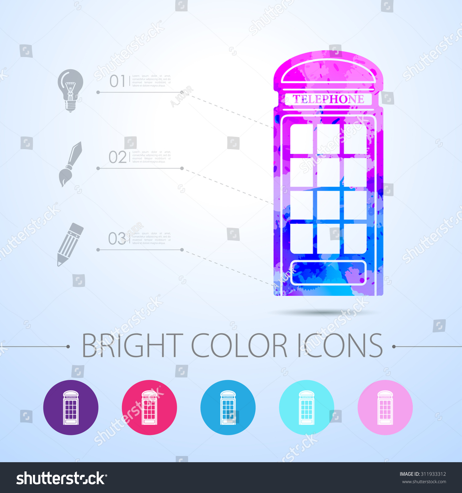 hight resolution of vector watercolor telephone box icon with infographic elements