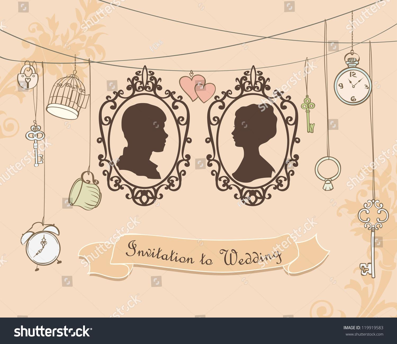 Wallpaper Woman Girl Wedding Vector Wedding Invitation Card Vintage Card Stock Vector
