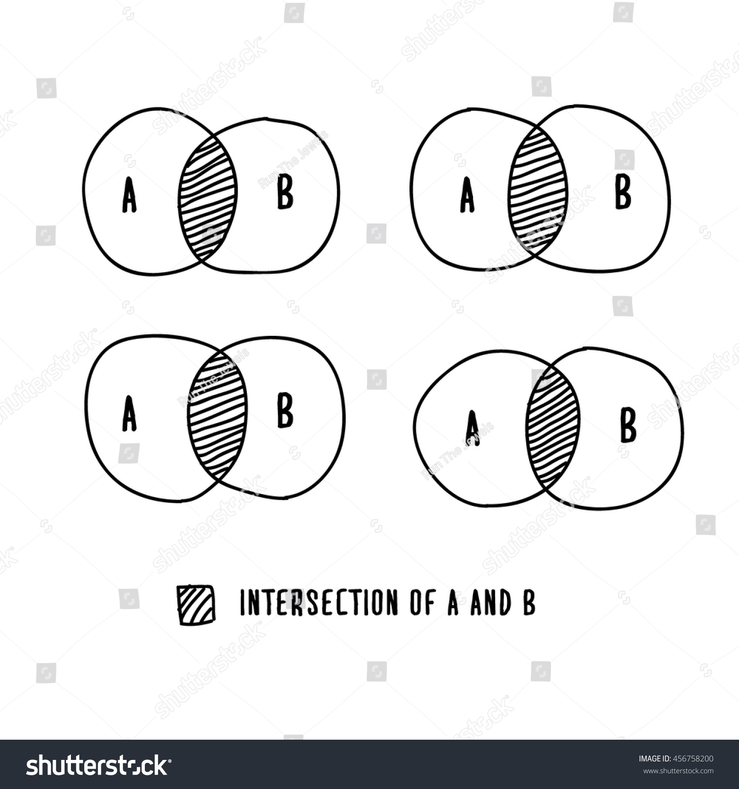 hight resolution of venn diagram hand drawn vector illustration template design