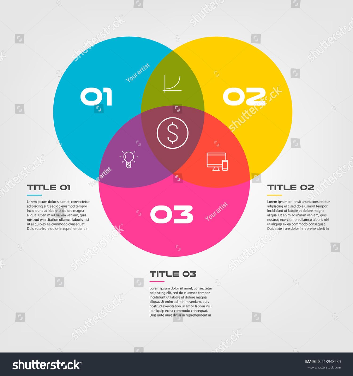 Venn Diagram Infographics Three Circle Design Stock Vector