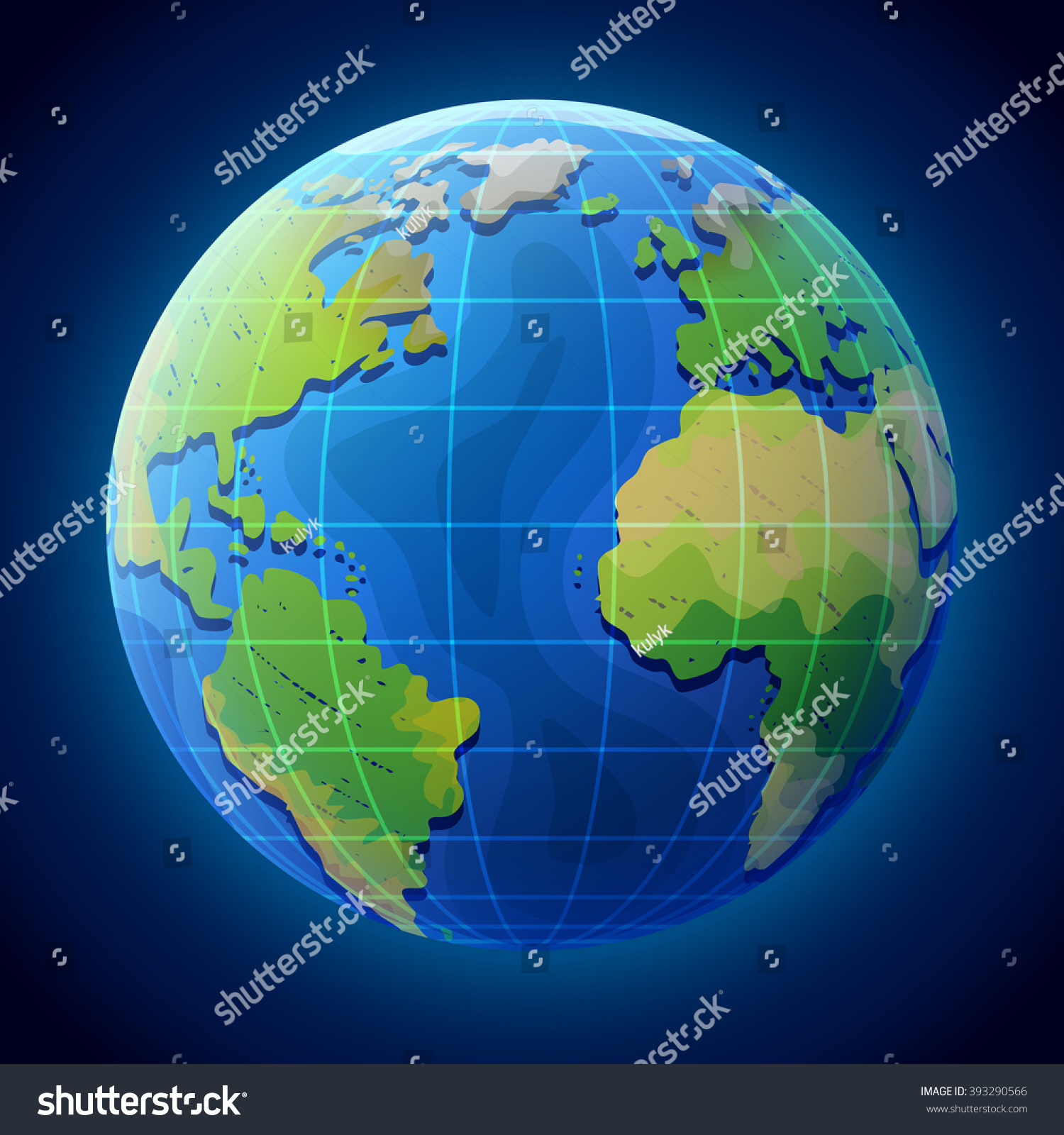 View Globe Space Earth Planet Ocean Stock Vector