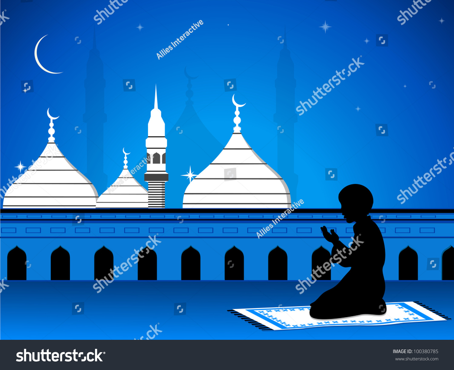 View Mosque Masjid On Night Background Stock Vector